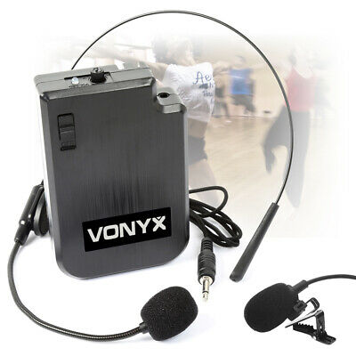 Vonyx VPS10BP UHF Vocal Headset with Body Pack Transmitter & Lavalier Microphone