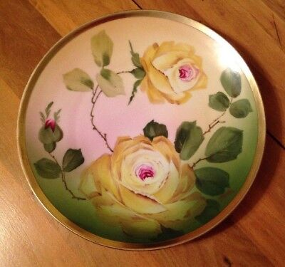 Antique O&EG Royal Austria Porcelain Plate Yellow Roses Signed Martin