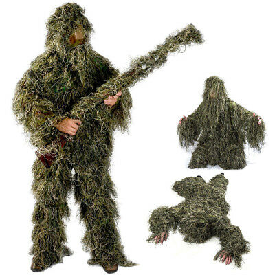 Adult M/L Ghillie Suit Camo Woodland Camouflage Forest Hunting 3D 4-Piece + Bag