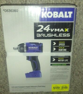 "NEW Kobalt 0736360 24V Max Brushless Cordless Compact 1/2"" Drive Impact Wrench"