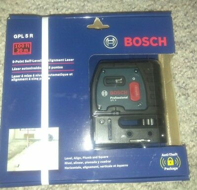 Bosch GPL 5 R 5-Point Alignment Laser 100-ft Beam Self Leveling Line Generator