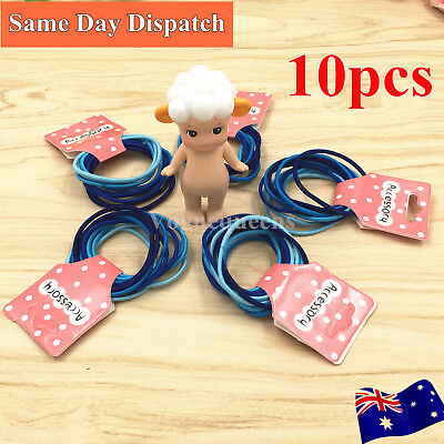 Premium 10Pcs Kids Girls Elastic Hair School Tie/Hair Band For Ponytail Mix Blue