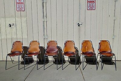 Set Of Six Original Charlotte Perriand Les Arcs Chairs, France, 1960s