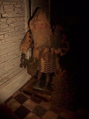 Primitive Santa Claus Doll, Antique woven coverlet, One of a Kind Handmade