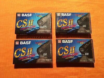 4 x BASF CS II Chrome Super 100 Cassetten,IEC II,neu,eingeschweißt in OVP,sealed