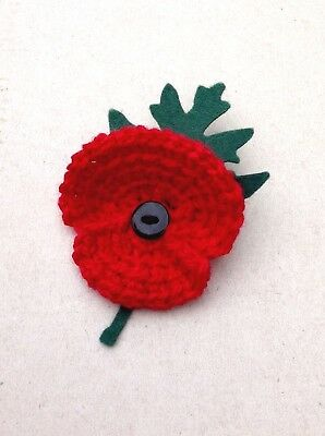 Hand Knitted/Crocheted Poppy Brooch/Corsage/Pin with Leaf Remembrance Day
