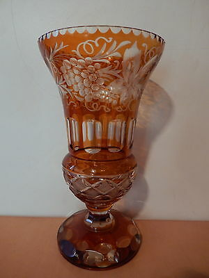 Large vase crystal engraved boheme orange decor geometric grape harebells vine