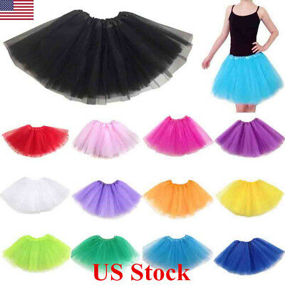 US Women Adult Kids Mesh Skirt3 Layer Underskirt Petticoat Fancy Tutu Pettiskirt