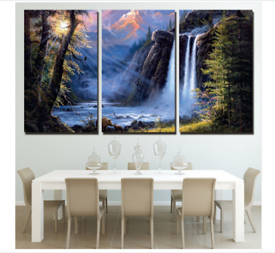 3 Panel HD Sunshine Forest Waterfall Painting On Canvas Print Home Decoration