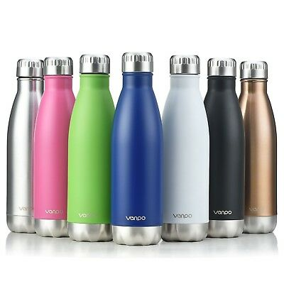 (Black) - Vanpo Vacuum Insulated Water Bottle 500ml Double Wall Stainless