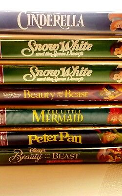Lot of 6 Walt Disney Black Diamond Classics VHS Movies Beauty and the Beast SNOW