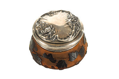 Galle Cameo Glass Dresser Jar with Repousse sterling Lid c.1890