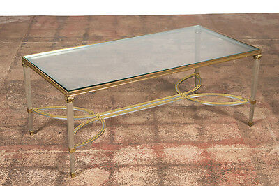 Hollywood Regency Mix Metal Bronze Coffee Table w/Glass top