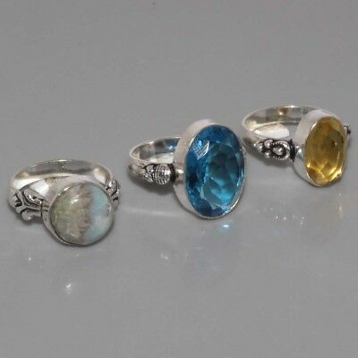 J384 Natural Larimar, Blue Quartz & 925 Silver Overlay Ring Lots US 8 To 8