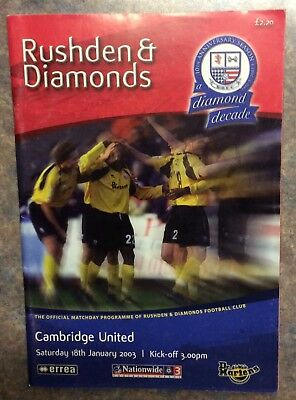 Rushden & DIamonds v Cambridge programme 3rd Division Jan. 2003 Champions year