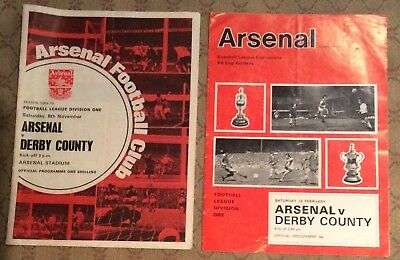 Two Arsenal v Derby County 1970/71 and 1971-72 programmes with cup tokens