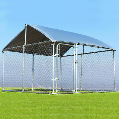 Large Pet Dog Run House Kennel Shade Cage 7.5'x7.5' Roof Cover Backyard Playpen