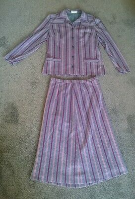 Vintage Fulton London Knitted Navy Pinstripe Skirt Suit 60s/70s - Size 12 Retro