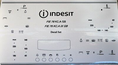 INDESIT FIE 76 KC.A  decal sticker set for worn facia, may suit others.