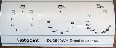 HOTPOINT DU2540, DD2540 Oven decal sticker set, may fit others also in black.