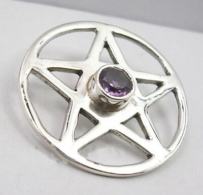 Genuine 925 Sterling Silver Amethyst Star/Pentagram Pendant