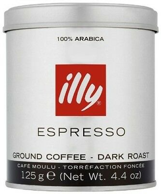 illy Dark Ground Espresso Coffee 125g (Pack of Two). Free Delivery
