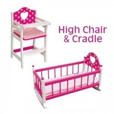 Dolls High Chair and Cradle Set. Wood Toys. Delivery is Free