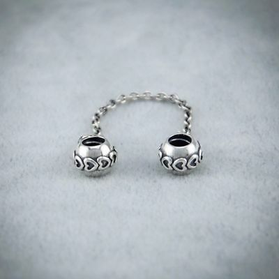 Authentic Genuine Pandora Silver Charm Love connection safety chain - 791088