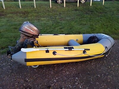 Inflatable rib dinghy boat with 10hp Mercury Mariner engine