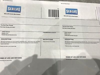 Sea Life Centre Manchester tickets x 2 (for Bonfire night)