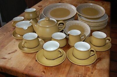 Denby pottery Vintage. Tea set and plates. Almost perfect. Beige, white interior
