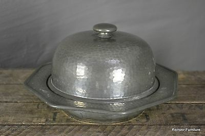 Hammered Pewter Domed Lid Butter Dish