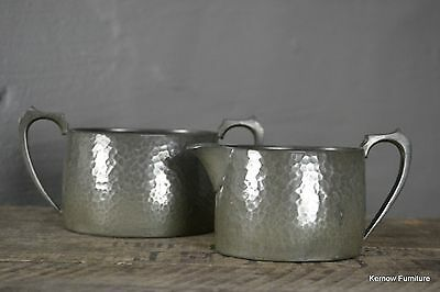 Hammered Pewter Small Jug & Sugr Bowl