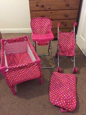 Baby Doll Playset Toy Cot Stroller High Chair
