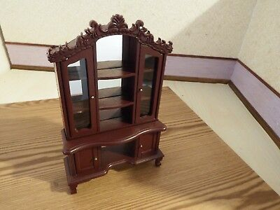 doll house furniture mahogany mirror display cabinet 1.12