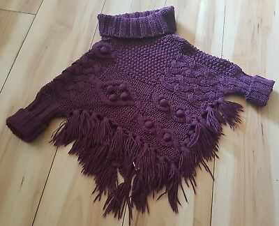 Girls Cable Knitted Burgundy Winter Poncho Cape Jumper Matalan Age 3-4 Years