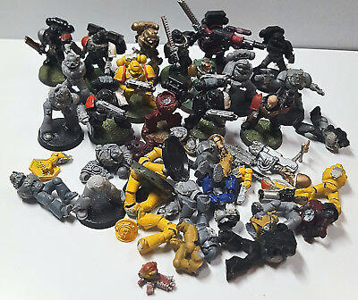 Job Lot Of Space Marine Figures, Ideal For Repairs/customs Ideal For 8Th Ed