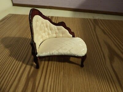 doll house furniture mahogany/cream victorian  corner chaise  1.12th B