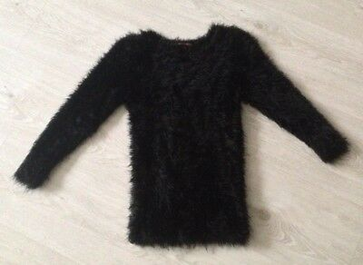 girls black fluffy jumper from store 21 aged 7-8