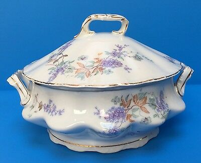 Love These Lilacs on Austrian Carlsbad Embossed Gold Trim Covered Serving Dish