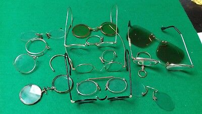 Vintage yellow metal spectacles and cases some damaged some intact job lot .
