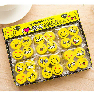Cute 4PCS Funny Emoji Rubber Pencil Eraser Novelty Students Stationery Gift Toys