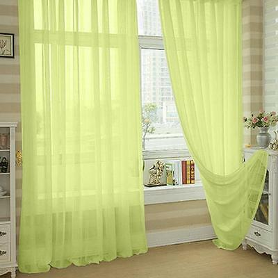 Yellow Floral Tulle Voile Door Window Curtain Drape Panel Sheer Scarf Divider NH