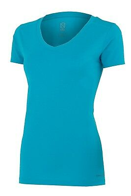 (X-Small, Crystal Blue Heather) - Noble Karleigh Short Sleeve V-Neck Vivacious