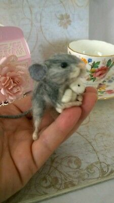 Needle felted ,mouse, animal ooak, dolls house, hand made