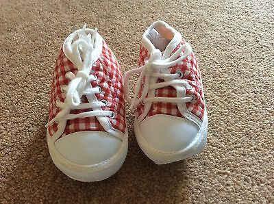 Vintage 1990s red gingham pram shoes 6 - 12 months BNWOT