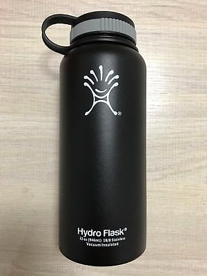 Black 32oz Hydro Flask Insulated Stainless Steel Water Bottle Wide Mouth New