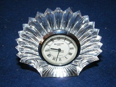 Waterford Lead Crystal Cut Glass Clock Sun Ray Fan Design Signed
