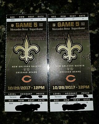 2 Tickets New Orleans Saints vs Chicago Bears Section 604 Row 12 Superdome