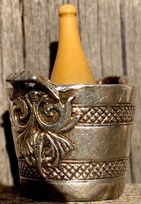Lovely Antique Solid Silver Miniture Champagne Bucket, Bottle FreeUKPostage
